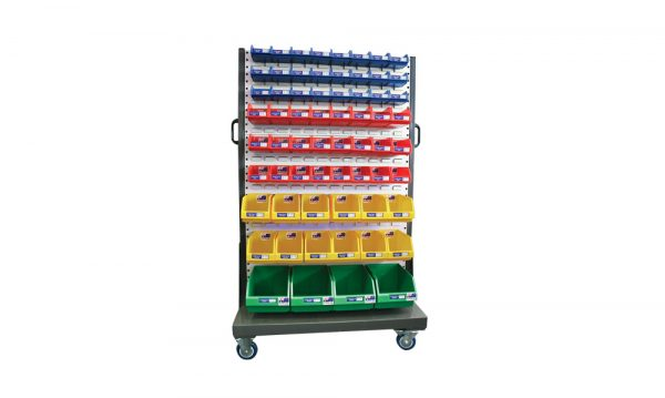 Mobile 1600 Series Hanger Rack with Bins 3